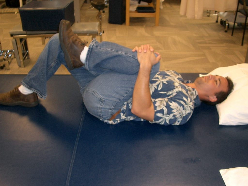A single knee to chest stretch.