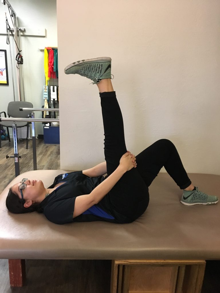 Tight hamstrings can be relieved with this stretch.