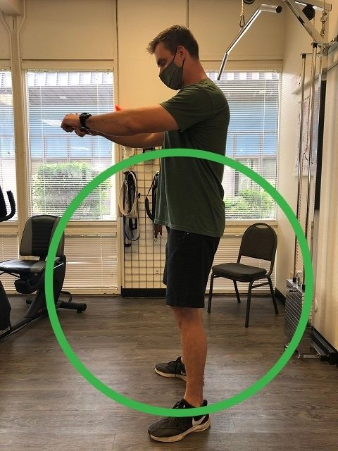 A good finishing position for the squat.