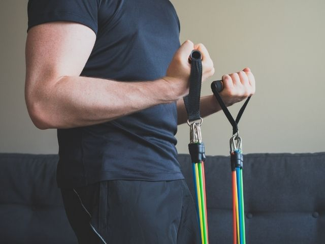 Resistance training with bands.