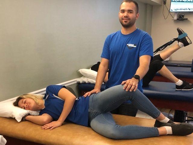 Piriformis syndrome test, ending position.